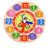 Wooden Teaching Clock CM© toys, friendGG Digital Geometry Puzzle Clock with Numbers and Shapes Sorting Blocks DIY Educational CM© toy for Toddlers Baby Kids Children Wisdom Gift