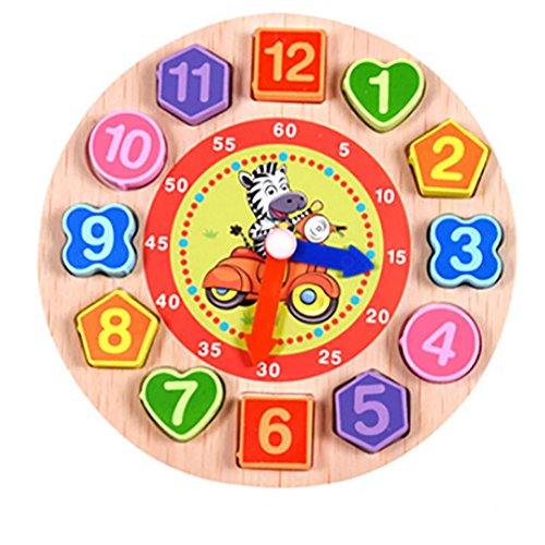 Coupon Matrix - Wooden Teaching Clock CM© toys, friendGG Digital Geometry Puzzle Clock with Numbers and Shapes Sorting Blocks DIY Educational CM© toy for Toddlers Baby Kids Children Wisdom Gift