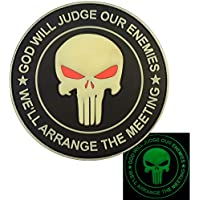 GOD WILL JUDGE OUR ENEMIES Glow Dark Punisher Skull Seal Team 6 PVC Rubber 3D Touch Fastener Patch