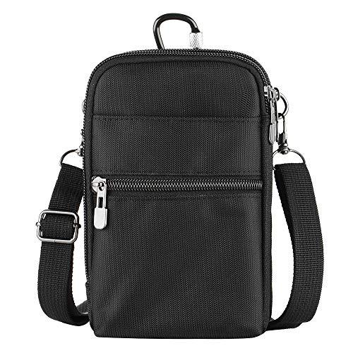 Handytasche umhängen,RFID Blocker Umhängetasche Unisex/Männer/Damen/Kinder,Multifunktionale Outdoor Sport Hüfttasche mit 1 Hüftgurt Schraubkarabiner für iPhone X/5/6/7, Samsung S5/S6/S7 unter 6 Zoll
