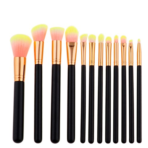 ESAILQ Pinceaux de maquillage, Planifiez 12 pcs/Ensembles de fard à paupières Fondation sourcils lèvres Outil de pinceaux de maquillage (F)