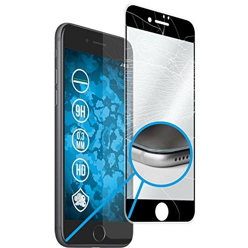 1 x Apple iPhone 8 Plus Pellicola Protettiva Vetro Temperato chiaro full screen con telaio in silicone - PhoneNatic Pellicole Protettive Nero