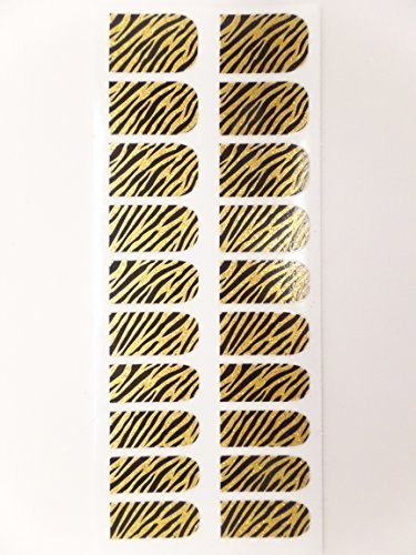 Animal Print Nail Folien, 20 Stück Packungen, Schwarz Gold metallic Zebra - Folie Animal-print