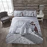 Rapport Bettwäsche-Set Weihnachtliches Eisbär-Motiv, Bettdeckenbezug und 2Kissenbezüge, Mehrfarbig, King-Size-Größe