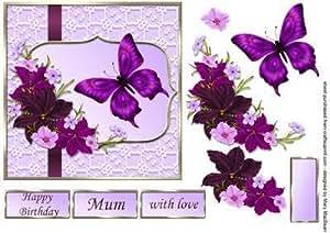 Biglietti da decoupage con fiori lilla e bordeaux, di Mary MacBean