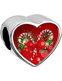 Uniqueen Photo Cœur Charms Perle pour bracelets à breloques