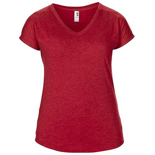 Anvil - T-shirt à manches courtes et col en V - Femme Rouge