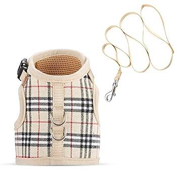 confortable, sûre et respirant Beige Chat Harnais avec laisse, réglable en maille filet souple Matériau Chat Harnais et Laisse L