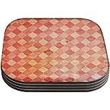 Snoogg Rojo bloques alfombra juego de 4posavasos mesa cuadrada/mesa y juego de accesorios de cocina para bebidas Juego de 4posavasos cuadrados hecho a mano de madera