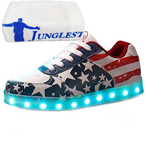 [Presente:Pequeña Toalla] Rojo EU 37, Light Ni?os Up Manera Colores Estrellas de Zapatos