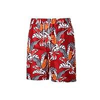 Swimming Men Shorts New Printed Loose Drawstring Beach Summer Board Casual Plaid Board Short Mens,red-k05,L