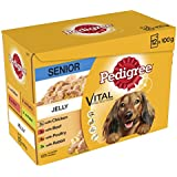 Pedigree  Senior Dog Pouches Meat Selection in Jelly, 12 x 100 g - Pack of 4 (Total 48 Pouches)