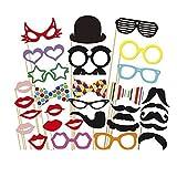 Godagoda Accessoires Photobooth Masquerade Accessoires de Photos Fête d'anniversaire Mariage 31PCs
