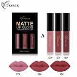 Rossetto, lucidalabbra,BBsmile 3PCS New Fashion Waterproof Matte Liquid Lipstick Cosmetici Lip Gloss Set 3 colori Lip Gloss Set (A)