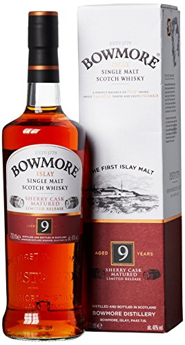 Bowmore 9 Years Old Sherry Cask Limited Release Whisky mit Geschenkverpackung (1 x 0.7 l)