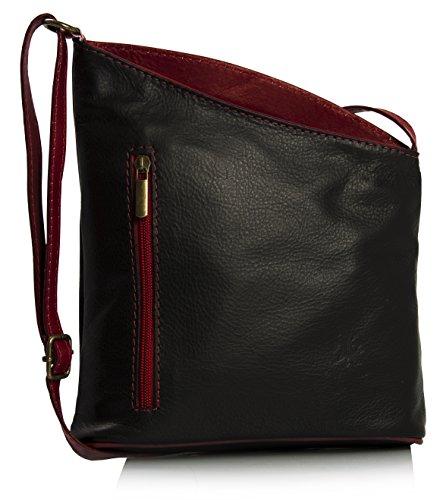 Big Handbag Shop Petite Venenzi souple véritable Cuir italien Sac à bandoulière - Noir - Black - Red Trim,