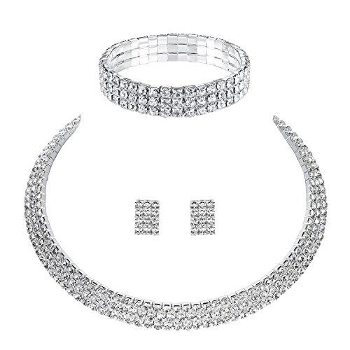 Mecresh da sposa 1/2/3/4/5ROW strass di cristallo per donne (1orecchini & collana & braccialetto) e placcato Argento, cod. 3TL001