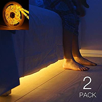 YOUKOYI 5ft Motion Activated Bed Light Flexible LED Strip Night Light Underbed Lighting Illumination with Automatic Shut Off Timer, Warm Glow, 2 Pack produced by Meiji - quick delivery from UK.