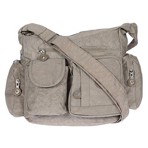 979b07a6cf486 Damen Handtasche Crinkle Nylon Umhängetasche Schultertasche Tasche Shopper  Bag Grau Beige