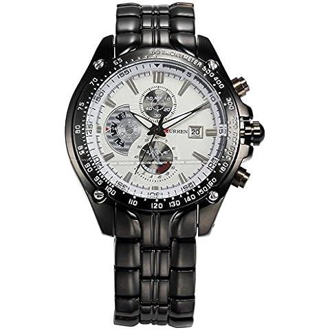 So Ver para hombre lujo relojes esfera blanca calendario muñeca reloj con pulsera de acero inoxidable con baño de iones), color negro