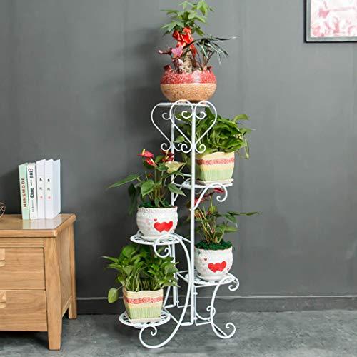 CXQ Europäische Schmiedeeisen-Blumen-Regal Fünfstöckiger Innenbalkon Stehendes Metall Kreatives Pflanzen-Zuhause Weißes Blumen-Topf-Gestell - Moderne Set Podest