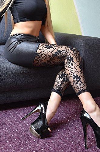 jowiha® Damen Wetlook Leggings mit Spitze und Reißverschluss - 3