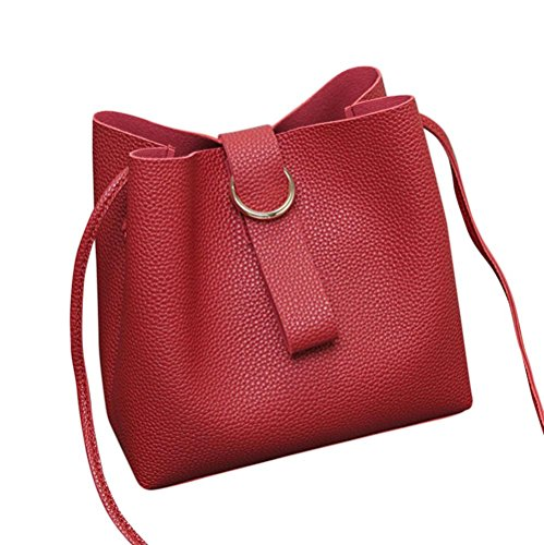 BZLine® Frauen Handbag Leather Cross Body Shoulder Bag for Women Girls Rot