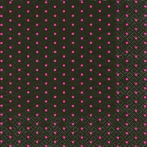 60 Tovaglioli Mini Dots black/berry 25 x 25 cm 3-strati di carta, Cocktail Tovaglioli