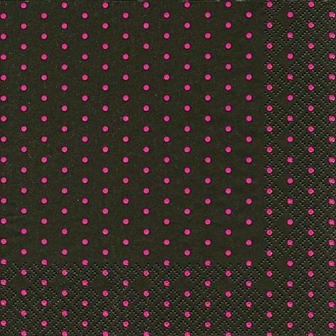 60 Tovaglioli Mini Dots black/berry 33 x 33 cm 3-strati di carta, Lunch Tovaglioli