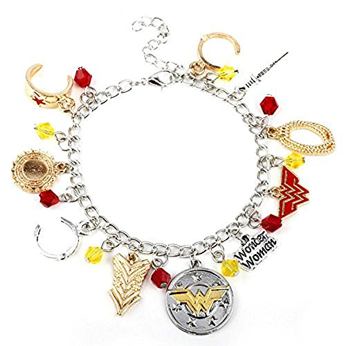Beaux Bijoux Wonder Woman Charm Armband - Edelstahl Comics Superheld Armband in Geschenkbox (Armbänder Wonder Woman)