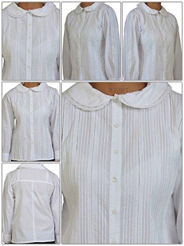 Cotton Lane coton Peter Pan Vintage Blouse.Tailles Francais 36-62 Bleu