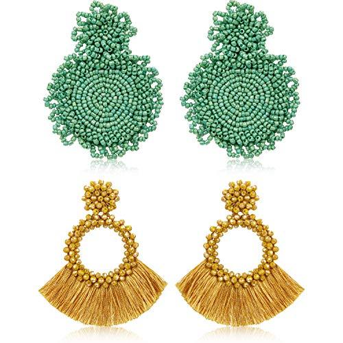 2 Paare Anweisung Tropfen Ohrringe Böhmischen Perlen Runde Handgemachte Hoop Quaste Ohrringe für Damen Mädchen Schmuck (Stil Set 5) (Perlen-ohrringe Runde)