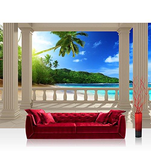 Vlies Fototapete 350x245 cm PREMIUM PLUS Wand Foto Tapete Wand Bild Vliestapete - TERRACE VIEW CARIBBEAN BEACH - Ausblick Terrasse Seeblick 3D Strand Beach Meer Sonne Palmen - no. 121