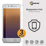 coverso Display-Schutzfolie für iPhone 7 & iPhone 8 [3 Stück] Pet-Displayfolie, Flexible Panzerglas-Alternative, Top Displayschutz, Kratzschutz