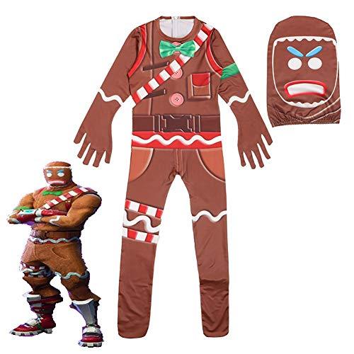 EisEyen Jumpsuit Kinder Lebkuchenmann Spielkleidung Pyjama Cosplay Mädchen Jungen Weihnachten Kostüm Kostümrollenspiel, 160cm