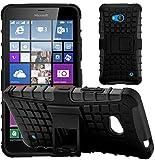G-Shield Microsoft Lumia 640/640 Dual Sim Hülle Silikon mit Ständer Stoßfest Schutzhülle Dünn Tasche Hybrid Armor Cover Case Etui Handyhülle mit Displayschutzfolie und Stylus - Schwarz