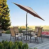 Grand Patio Gartenschirm mit Dreh-Kipp-Mechanismus Kurbelschirm Sonnenschutz UV-Schutz Sonnenschirm Ø 270 cm, Rund, Braun