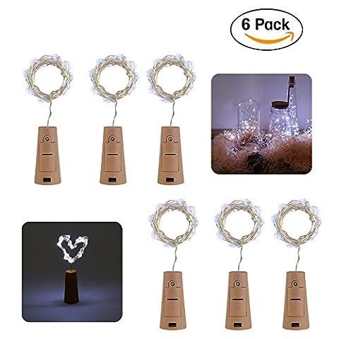 Flaschenlicht, Volador 6 Stück 20 LED Kupferdraht Lichter String Starry LED Lichter für Flasche DIY, Party, Weihnachten, Halloween, Hochzeit - Weiß