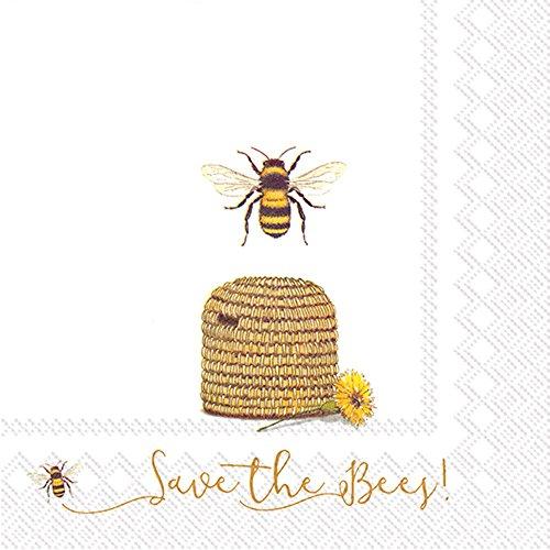 Boston International Papierservietten 20-Count Save the Bees Golden Garden Teller
