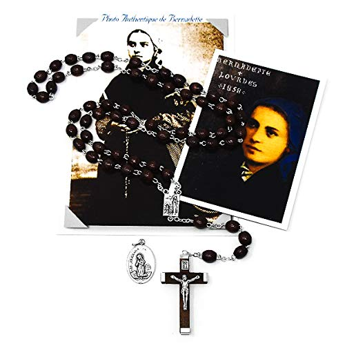 Catholic Gift Shop Ltd Lourdes Holz-Rosenkranz Perlen Geschenkset gewidmet Saint Bernadette Soubirous mit Foto 1864, Medaille und Gebetskarte