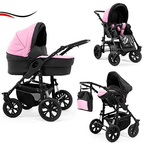 """14 teiliges Qualitäts-Kinderwagenset 3 in 1 """"BRAVO"""" in 20 Farben: Kinderwagen + Buggy + Autokindersitz + Schwenkräder - Mega-Ausstattung - all inclusive Paket in Farbe B-12 (Schwarz-Pink)"""