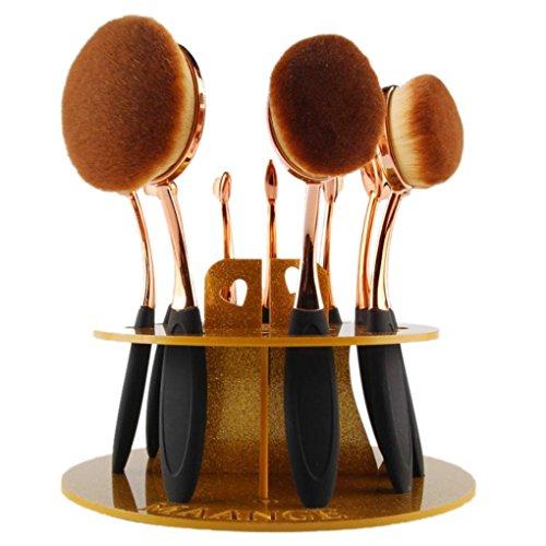 Plateau de cosmétique, Tonsee 10 trous Oval Maquillage porte-brosse Séchage Rack Organisateur - Pas de brosse - Or