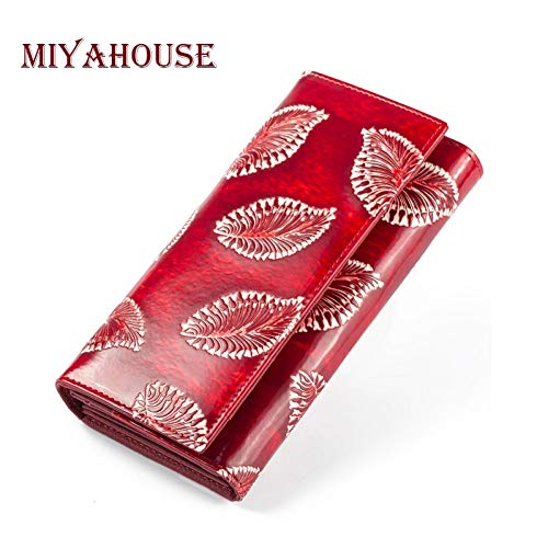 PDDH Brieftaschelong Wallets for Women Leaves Embossed Purses Genuine Leather Female Clutch Bags Cowhide Card Holder Wallet -