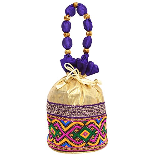Bagaholics Ethnic Clutch Silk Potli Batwa Pouch Bag with Metal Beadwork (Purple)  available at amazon for Rs.185