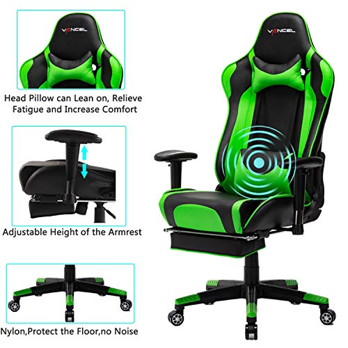 EVANCEL Gaming Stuhl in E-Sports Racing Style Massage Teillenkissen Computerstuhl Ergonomisches Design schwenkbarer mit Verstellbaren Armlehnen und Fußstütze, Wippfunktion mit PU Leder (Grün)