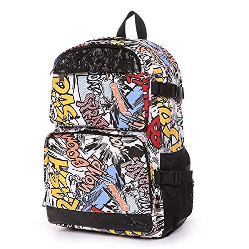DDHXX Große Kapazität Casual Computer Rucksäcke Cartoon Brief Graffiti Student Schultasche Leinwand Unisex Daypack Wandern Anti-Diebstahl Tagesrucksack - Backcountry-ski-rucksäcke