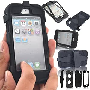 Samsung Galaxy S4 / i9500 Shock Proof Heavy Duty Builders Case Cover With Belt Clip & Built in Screen Protector (Black)