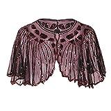 Frauen Kleid Schal Frauen der 1920er Jahre Schal Perlen Pailletten Deco Damen Abend Cape Bolero Flapper vertuschen Moonuy