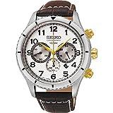 Seiko Herren Chronograph Quarz Uhr mit Leder Armband SRW039P1