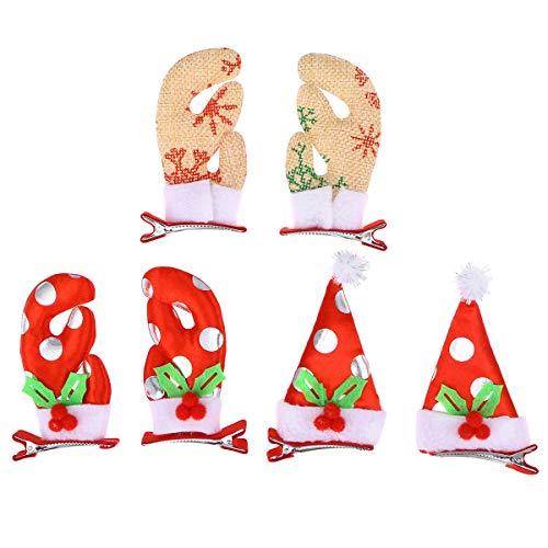 BESTOYARD Alligator Haarspange Weihnachten Haarnadel Schöne Stoff Weihnachten Headwear für Kind Kind 6 Stücke (Stoff Alligator Haarspangen)